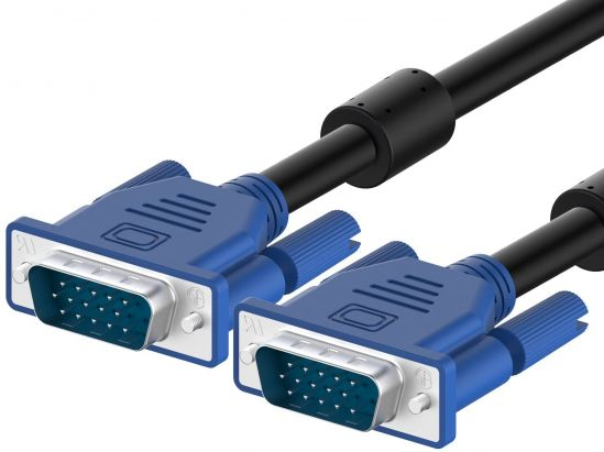 VGA Monitor Cable Lead Male To Female PC Video Cable 1.5m - Blue/Black